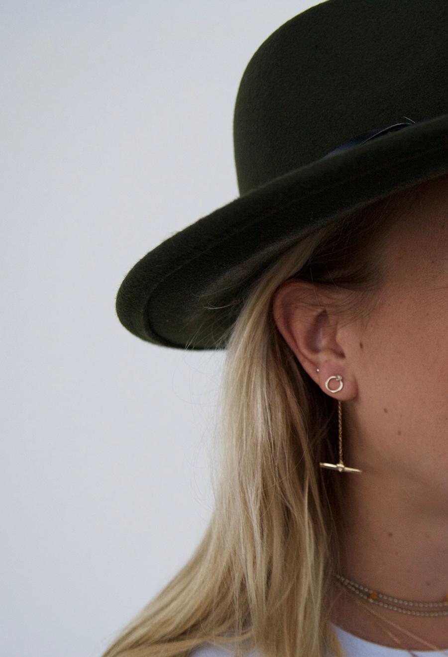 rock bohemian fedora shashi nyc gold earrings